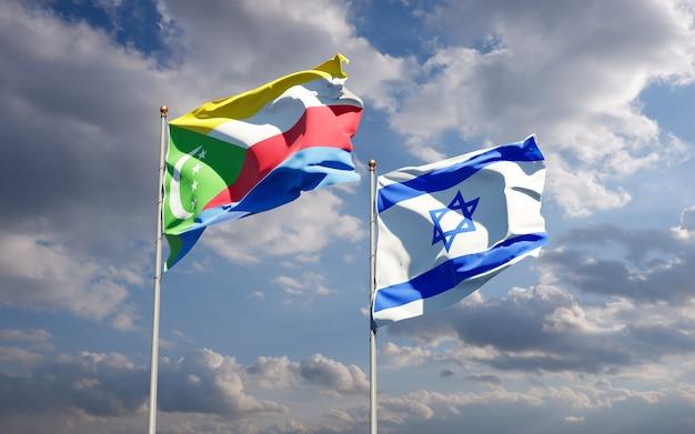Vlaggen van israël en de comoren samen op hemelachtergrond