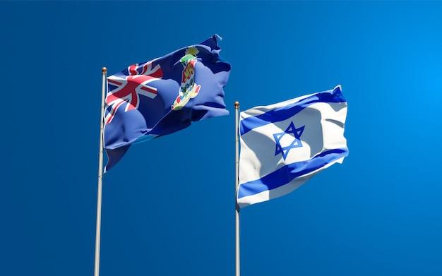 Vlaggen van israël en kaaimaneilanden samen op hemelachtergrond