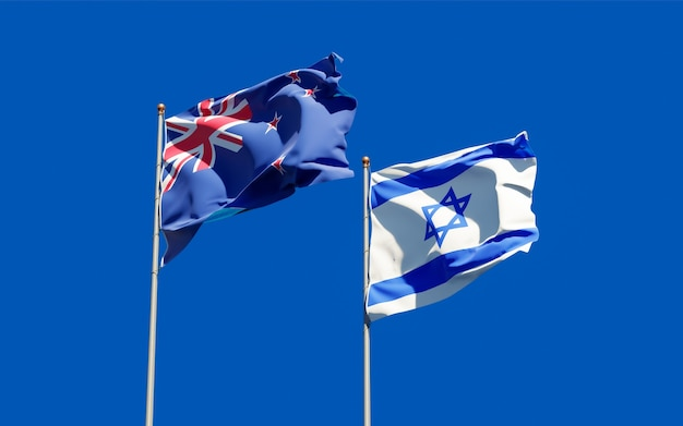 Vlaggen van israël en nieuw-zeeland. 3d-illustraties