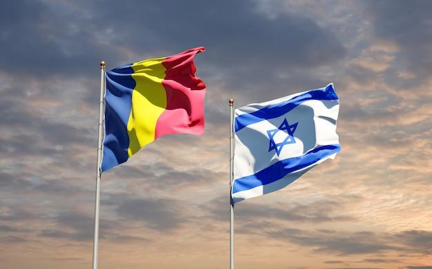 Vlaggen van israël en tsjaad samen op hemelachtergrond