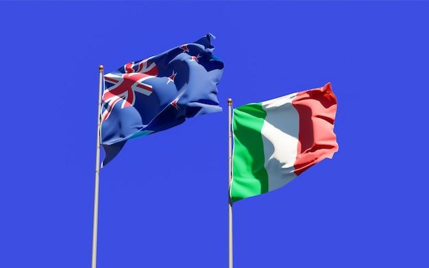 Vlaggen van italië en nieuw-zeeland. 3d-illustraties