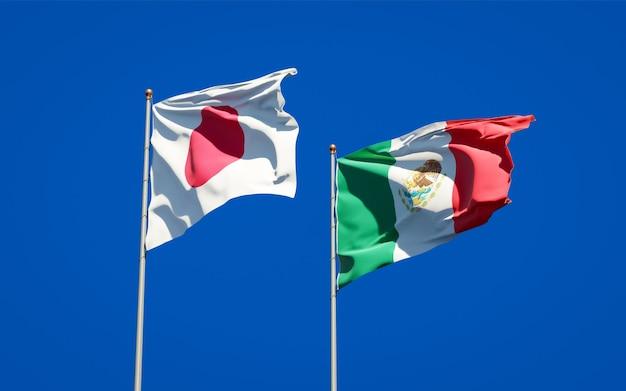 Vlaggen van japan en mexico. 3d-illustraties