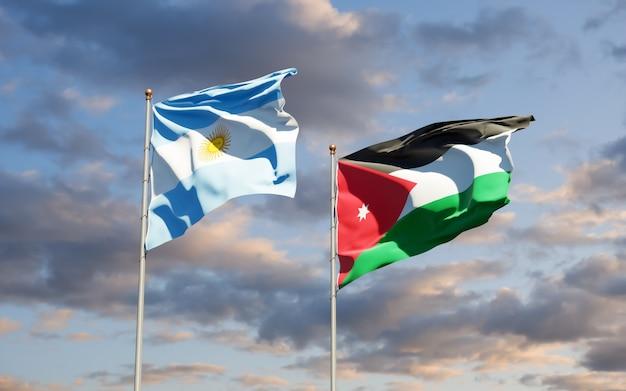 Vlaggen van jordanië en argentinië. 3d-illustraties