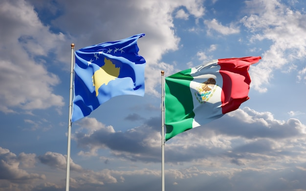 Vlaggen van kosovo en mexico. 3d-illustraties