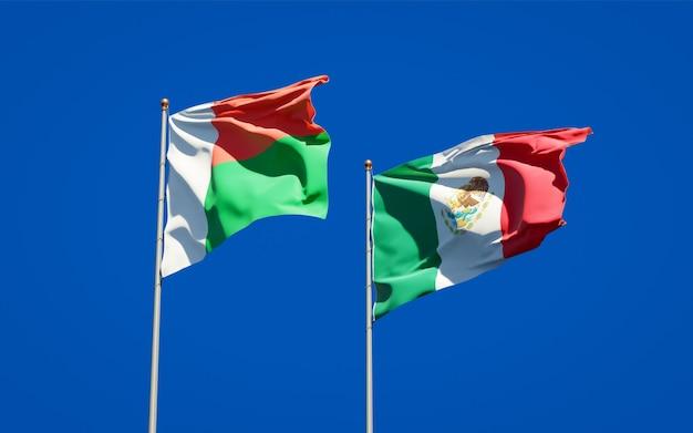 Vlaggen van madagaskar en mexico. 3d-illustraties