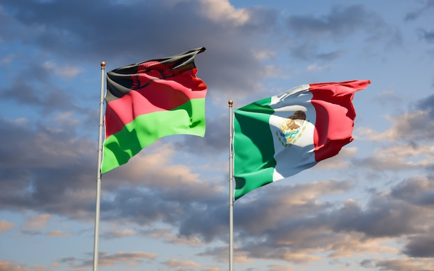 Vlaggen van malawi en mexico. 3d-illustraties