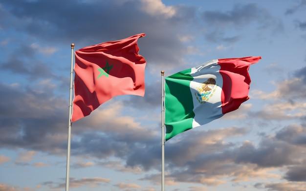 Vlaggen van marokko en mexico. 3d-illustraties