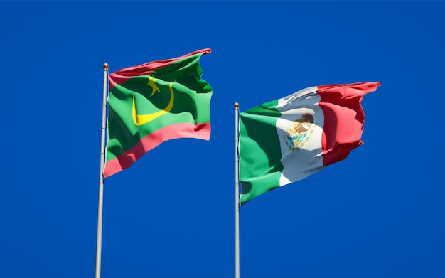 Vlaggen van mauritanië en mexico. 3d-illustraties