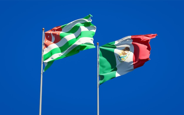 Vlaggen van mexico en abchazië. 3d-illustraties