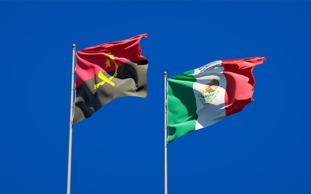 Vlaggen van mexico en angola. 3d-illustraties