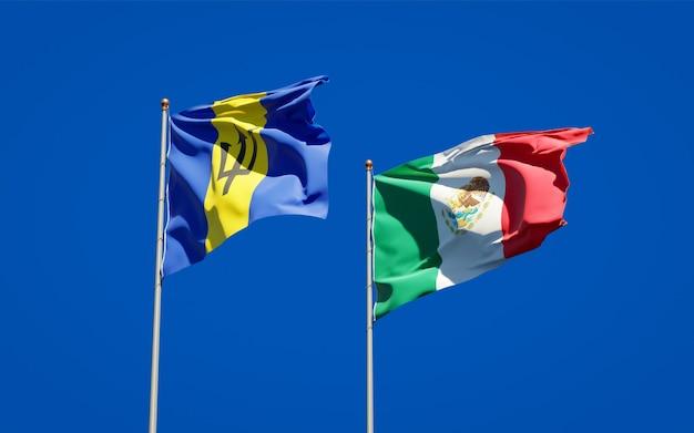 Vlaggen van mexico en barbados. 3d-illustraties