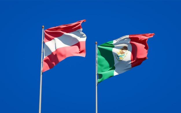 Vlaggen van mexico en oostenrijk. 3d-illustraties