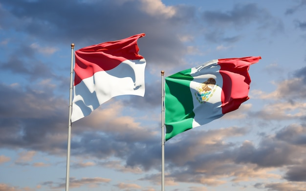Vlaggen van monaco en mexico. 3d-illustraties