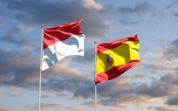 Vlaggen van monaco en spanje. 3d-illustraties