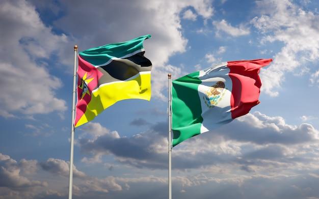 Vlaggen van mozambique en mexico. 3d-illustraties