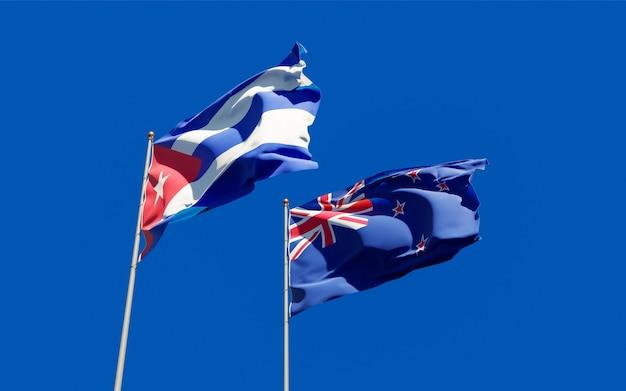 Vlaggen van nieuw-zeeland en cuba.
