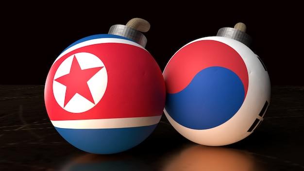 Vlaggen van noord-korea en zuid-korea op bommen