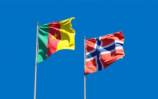 Vlaggen van noorwegen en kameroen.