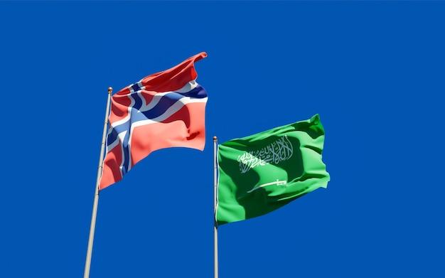 Vlaggen van noorwegen en noorwegen. 3d-illustraties