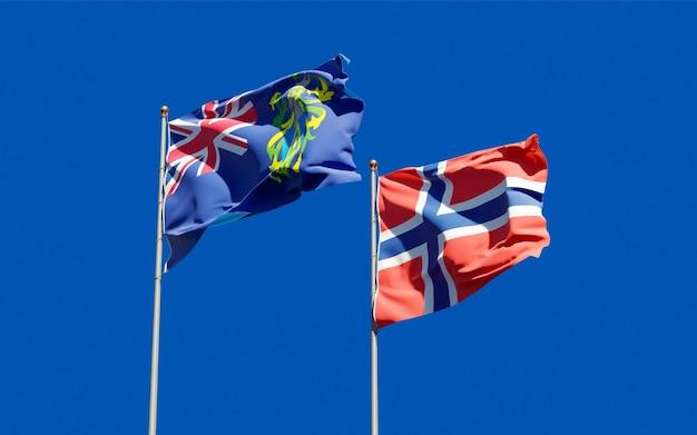 Vlaggen van pitcairneilanden en noorwegen. 3d-illustraties