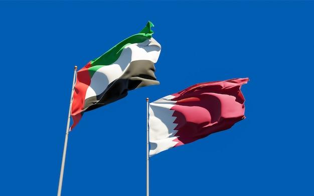 Vlaggen van qatar en de arabische emiraten van de vae