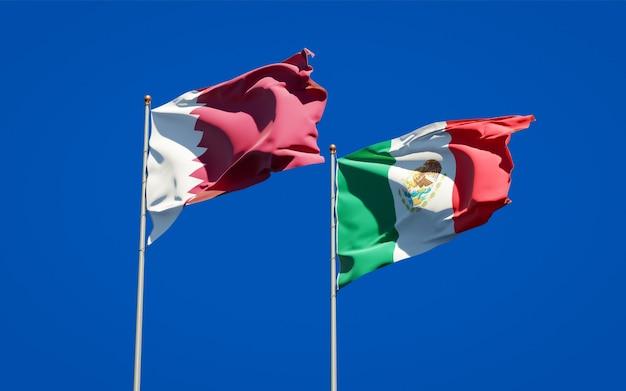 Vlaggen van qatar en mexico. 3d-illustraties