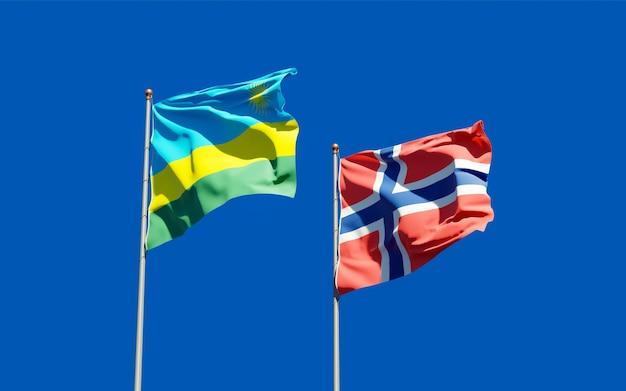 Vlaggen van rwanda en noorwegen. 3d-illustraties