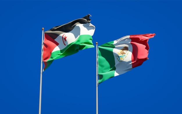 Vlaggen van sahrawi en mexico. 3d-illustraties