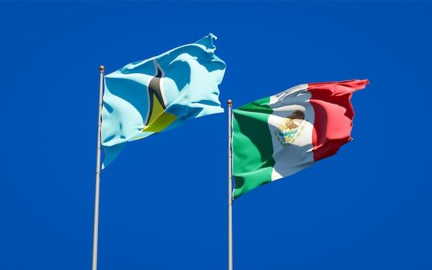 Vlaggen van saint lucia en mexico. 3d-illustraties