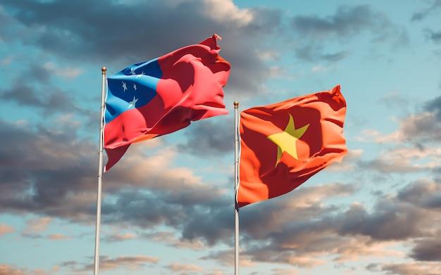 Vlaggen van samoa en vietnam. 3d-illustraties