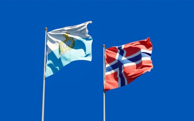 Vlaggen van san marino en noorwegen. 3d-illustraties
