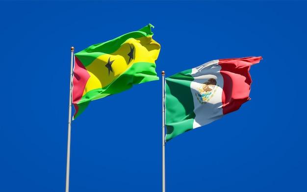 Vlaggen van sao tomé en principe en mexico. 3d-illustraties