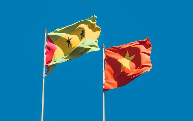 Vlaggen van sao tomé en principe en vietnam. 3d-illustraties