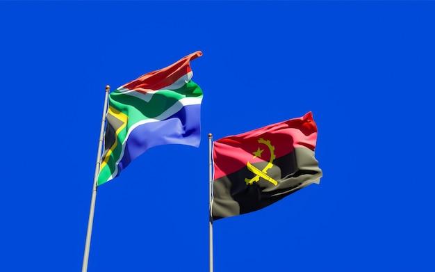 Vlaggen van sar-afrika en angola. 3d-illustraties