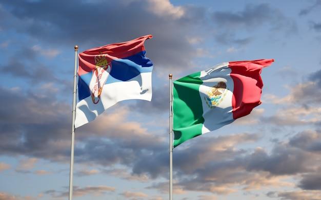 Vlaggen van servië en mexico. 3d-illustraties