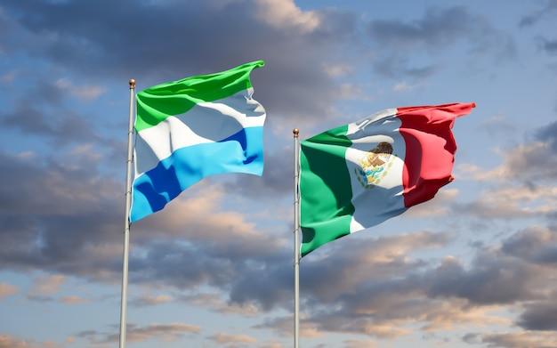 Vlaggen van sierra leone en mexico. 3d-illustraties
