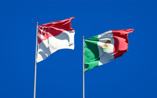 Vlaggen van singapore en mexico. 3d-illustraties