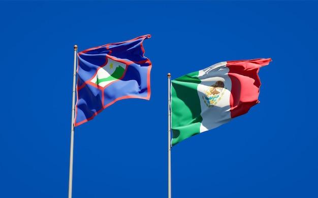 Vlaggen van sint eustatius en mexico. 3d-illustraties