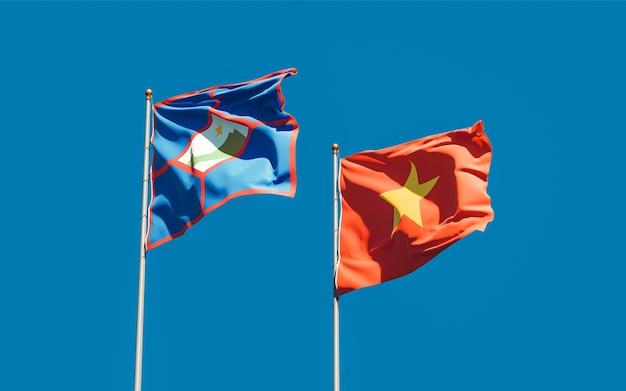 Vlaggen van sint eustatius en vietnam. 3d-illustraties