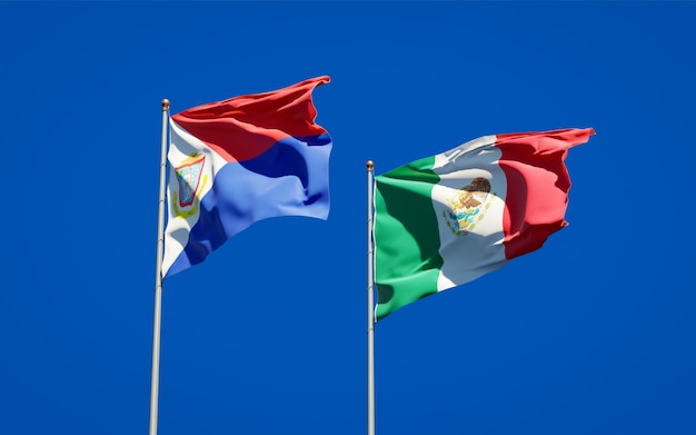 Vlaggen van sint maarten en mexico. 3d-illustraties