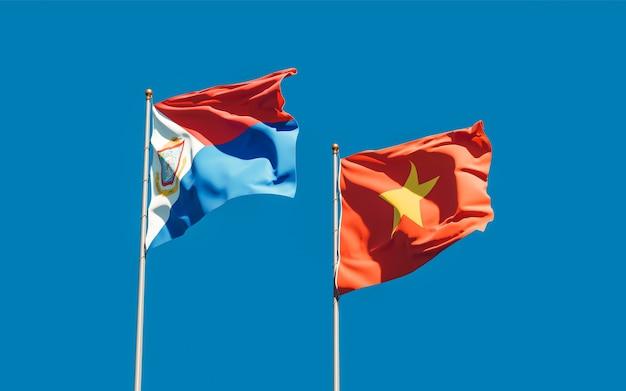 Vlaggen van sint maarten en vietnam. 3d-illustraties
