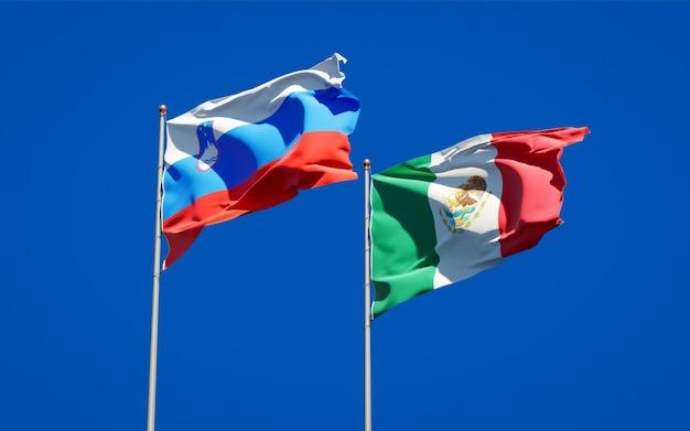 Vlaggen van slovenië en mexico. 3d-illustraties