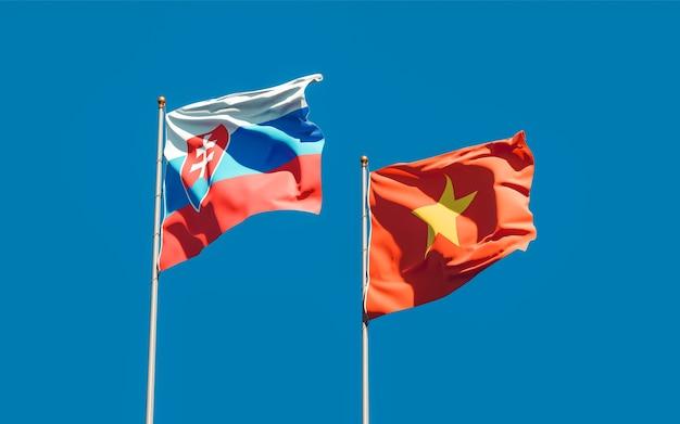 Vlaggen van slowakije en vietnam. 3d-illustraties
