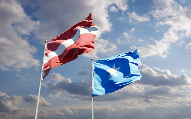 Vlaggen van somalië en letland. 3d-illustraties