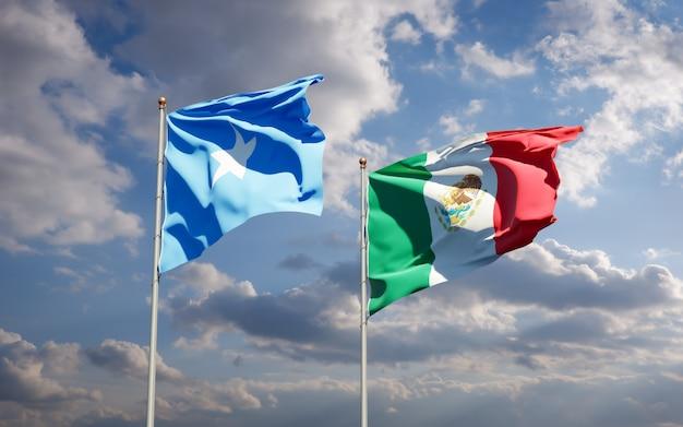 Vlaggen van somalië en mexico. 3d-illustraties