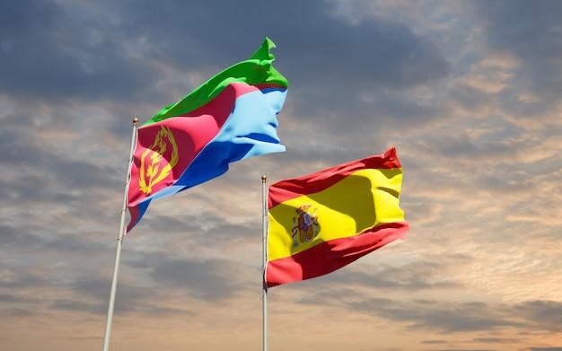 Vlaggen van spanje en eritrea.