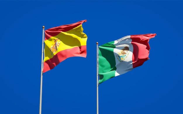 Vlaggen van spanje en mexico. 3d-illustraties
