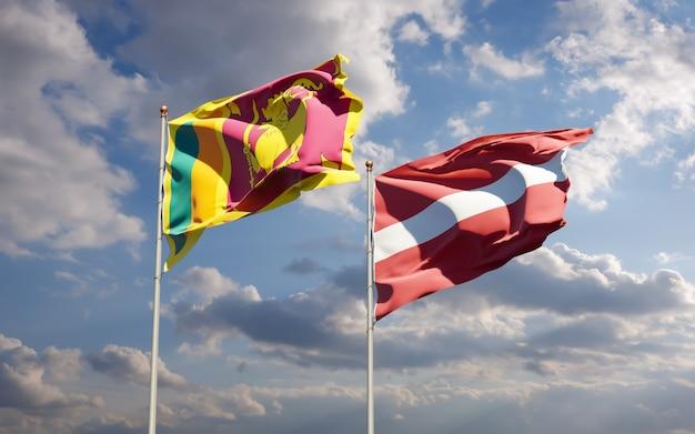 Vlaggen van sri lanka en letland. 3d-illustraties