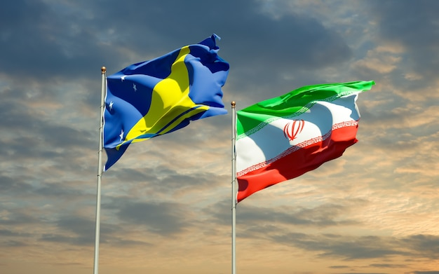 Vlaggen van tokelau en iran. 3d-illustraties