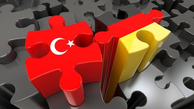 Vlaggen van turkije en duitsland op puzzelstukjes. politiek relatieconcept. 3d-rendering